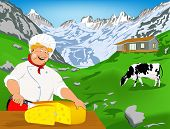 Chef and Natural swiss dairy cheese from cow with alps meadow