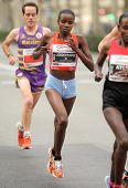 BARCELONA - FEB, 17: Kenyan half distance runner Josephine Chepkoech running during Barcelona Half M