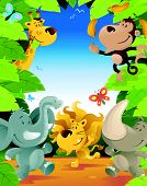 stock photo of ape  - illustration of a Fun Jungle Border with lots of animals enjoying a fun party - JPG