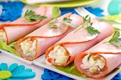 Ham Rolls Stuffed With Vegetable Salad And Mayonnaise