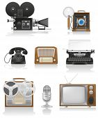 image of telecommunications equipment  - vintage and old art equipment set icons video photo phone recording tv radio writing vector illustration isolated on white background - JPG