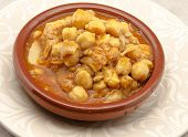 picture of tripe  - Casserole typical tripe with chickpeas Spain served on a plate - JPG