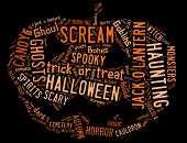 Word Cloud showing words dealing with Halloween in the shape of a jack-o-lantern on a black backgrou