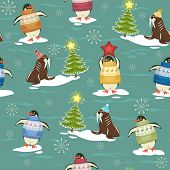 Seamless pattern with funny penguins in sweater on ice-floes and walruses rest upon ice-floes with C