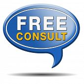 free advice and gratis consultation for customers. Consult icon or sign.