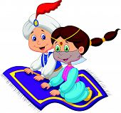 stock photo of aladdin  - Vector illustration of Cartoon Aladdin on a flying carpet traveling - JPG