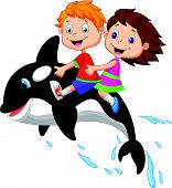 stock photo of orca  - Vector illustration of Cartoon Boy and girl riding orca - JPG