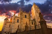 Cathedral Of Segovia During Sunset.