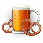 Mug Of Beer With Pretzels. Oktoberfest