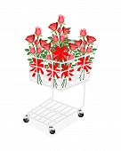 Red Rose Bouquets with Ribbon in Shopping Cart