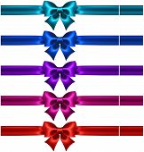 Set Of Silk Bows With Ribbons In Dark Colors