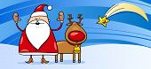 Santa Claus With Reindeer Greeting Card