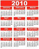 Calendário 2010 vermelho