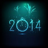 Happy New Year 2014 celebration background with shiny text, clock and fireworks in night background,