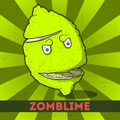 Funny Cartoon Zomblime On The Retro Background
