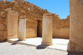 stock photo of masada  - Collon ruins of an ancient temple - JPG