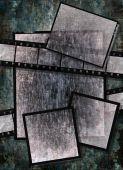 Film Strip And Film Plates With Vintage Grunge Texture On Grunge Background