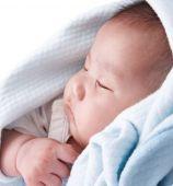 image of have sweet dreams  - sleeping child in blue blanket having sweet dreams - JPG