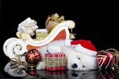 stock photo of christmas puppy  - white puppy sleeping with a gift in paws - JPG