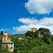 stock photo of castello brown  - Castello Brown near Portofino village on Ligurian coast in Italy - JPG