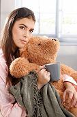 foto of pyjama  - Portrait of young woman in pyjama and sleep mask - JPG