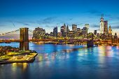Famous view of New York City over the East River towards the financial district in the borough of Manhattan.