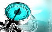 pic of sphygmomanometer  - Digital illustration of sphygmomanometer in colour background - JPG