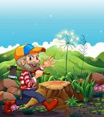 Illustration of a lumberjack wearing a cap walking near the stump