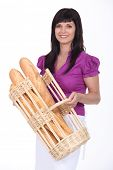 Woman with basket of bread