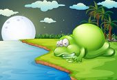 Illustration of a monster sleeping near the river