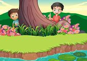 Illustration of the two boys hiding at the tree
