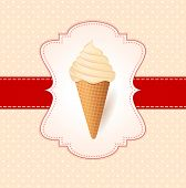 Vintage Vector Illustration With Ice Cream.