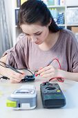 laboratory assistant girl  in electronic lab