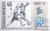 CESKOSLOVENSKO - CIRCA 1970: stamp printed by Slovakia shows soccer players on World Championship
