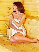 picture of sauna woman  - Young woman in sauna - JPG
