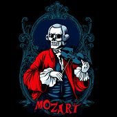 Mozart Skeleton Shirt Design