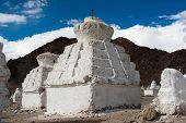 Buddhist stupa over Himalaya mountains. India