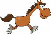 Smiling Horse Cartoon Character Running