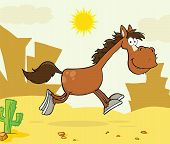 Horse Cartoon Character Running Over Western Landscape