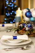 Elegant Blue And White Christmas Table Setting