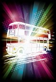 London bus on rainbow background illustration for party flyer
