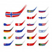 Ice hockey sticks with flags. Vector.