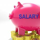 stock photo of payroll  - Salary Piggy Bank Meaning Payroll And Earnings - JPG