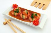 Chinese Food - Gourmet Broiled King Tiger Prawns On White
