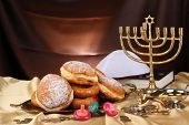 image of hanukkah  - Festive composition for Hanukkah on cloth close - JPG
