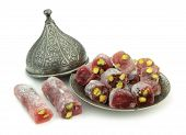 Delicious Turkish delight with pomegranate and pistachio nuts
