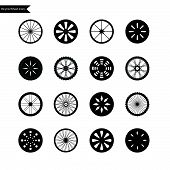 Bicycle Wheel Icons. Vector