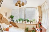 Sunny Bedroom On Balcony With Window And Plants, Fisheye View