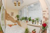 Sunny Bedroom On Balcony With Window And Plants, Fisheye View poster