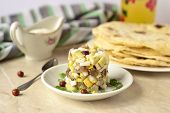 stock photo of pita  - Herring tartare with sour cream and pita bread - JPG